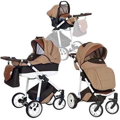 LCP Kids 3-in-1 Kombi-Kinderwagen Set Beige